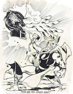 Thor vs, Storm Giant by Ron Frenz #RonFrenz #Thor #Asgard #Avengers #OdinSon #DonaldBlake #GodofThunder #Mjolnir #StormGiant