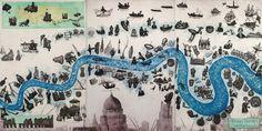 Mychael Barratt SWEET THAMES Etching Image size H 50cm x 100cm Framed Edition size 100     #mychaelbarrat #printmaking #etching #history #shakespeare #London #map #cityscape #RiverThames #thames