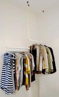 28 trendy open closet in bedroom diy hanging clothes Small Coat Closet, Small Closets, Open Closets, Clothes Rod, Diy Clothes Rack, Diy Clothes Closet, Hanging Clothes Racks, Closet Clothing, Small Closet Organization
