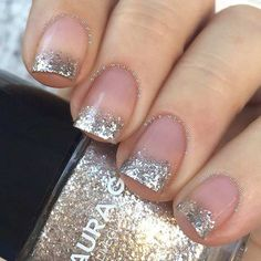 Glittery French Tip Nails