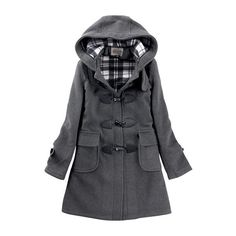 Voguehive Women's Hoodie Toggle Slim Mid-Length Outwear Duffle Trench... (295 CNY) via Polyvore featuring outerwear, coats, wool trench coat, slim coat, slim fit wool coat, wool toggle coat and woolen trench coat