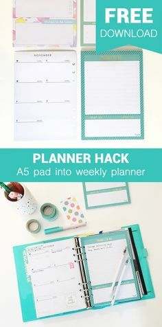 FREE DOWNLOAD Planner Hack Weekly insert onthe back on A5 note pads {Project Kate}