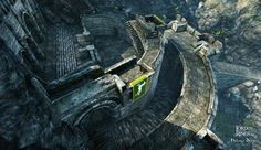 Helm's Deep by Vincent Mayeur - great aeriel view. Love the flag of Rohan