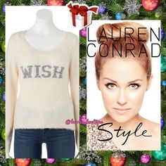 "HP5⭐️Lauren Conrad White Fuzzy ""WISH"" Sweater HP5⭐️NWT LC Lauren Conrad winter white fuzzy sweater with ""WISH"" lurex graphic is sure to turn heads while keeping you cozy! FEATURES: Slightly cropped length, scoop neck, long sleeves, ribbed trim. FABRIC/CARE: Nylon/cotton/acrylic. Hand Wash. S (4-6) ALSO AVAILABLENavy Blue ""LOVE"" Fuzzy Sweater(Pictured) ✅Bundle Discounts✅Reasonable Offers✅Offer Button✅❌Trades❌ LC Lauren Conrad Sweaters Crew & Scoop Necks"