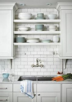 Kitchen shelves above sink storage ideas 47+ trendy Ideas #kitchen Kitchen Sink Decor, Kitchen Sink Window, Tidy Kitchen, Kitchen Shelves, Kitchen Tiles, New Kitchen, Kitchen Storage, Open Shelves, Window Shelves