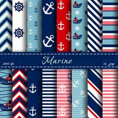 INSTANT DOWNLOAD - Nautical  Digital Paper - Scrapbooking Papers, Digital Backgrounds, For Personal Or Commercial Use