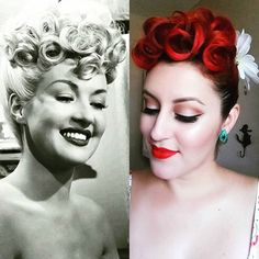 """Hair inspiration from Yesterday : Betty Grable. The Queen of Poodle hair!"" - @victoriadee27 #vintageinspired #vintagehair #bettygrable #curls #poodlehair #suavecita"