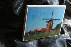 Landschaftsaufnahmen in Holz veredelt - hier die Gildehauser Mühle