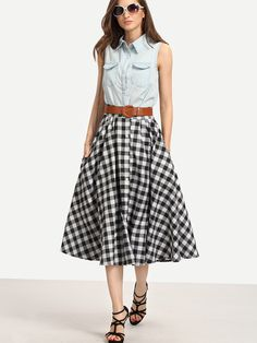 Shop Belted Buttoned Front Checkerboard Skirt online. SheIn offers Belted Buttoned Front Checkerboard Skirt & more to fit your fashionable needs.