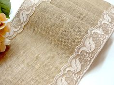 Wedding table runner burlap table runner with beige, vintage inspired lace rustic chic , handmade in the USA