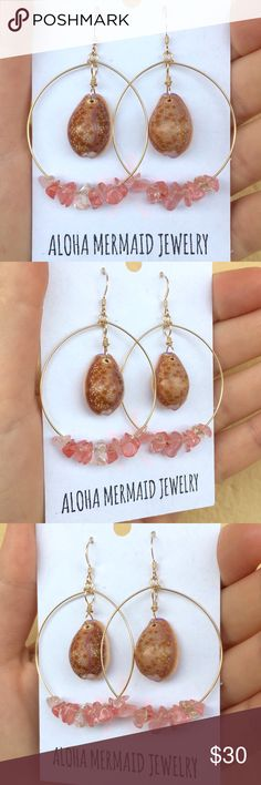 Handmade Hawaiian Cowry Seashell Quartz Gold Hoops Handmade Hawaiian Cowry Shell Strawberry Quartz Gemstone 14K Gold Filled Wire Hoop Earrings.  Handmade by me! My shells are all hand-picked from the beaches and oceans here in Hawaii!  Aloha Mermaid Jewelry Jewelry Earrings