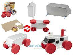Veículo lunar de brinquedo com material reciclado