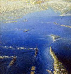 Цветков Борис Иванович (1895-1943) «Доставка плотов» 1937 фрагмент