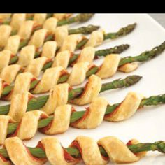 Pastry and prosciutto wrapped asparagus
