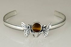 Wonderful Pair of Fairies on a Cuff Bracelet Accented with Genuine Tiger Eye Silver Dragon-Bracelets. $75.00