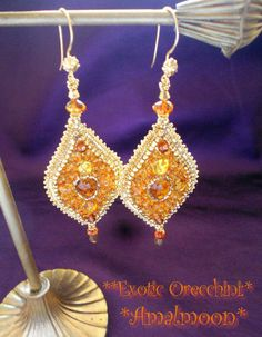Jyotina   Exotica Amber DanceBeads Embroidery Earrings by Amalmoon