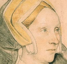 Margaret, Lady Elyot (c.1532-34) (detail) Daughter of the Wilshire Gentleman Sir Maurice a Barrow. (detail) This drawing was probably executed at the start of Holbein's second English visit.