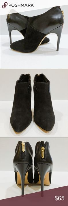 SAM EDELMAN Booties New without tag • Gorgeous black booties with gold zippers • Floor Sample, Never used • Leather & Suede material • High Stilettos • No damages (has normal scuff marks from storage, not noticeable) • No Box • Sam Edelman Shoes Ankle Boots & Booties