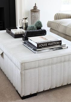 Cly Ottoman Coffee Table Vignette By Ham Interiors Den Ideas Hamptons House New