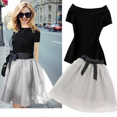 Cheap clothing discount, Buy Quality skirt blouse directly from China clothing agent Suppliers: 2 Piece Set Women Skirt top 2017 Summer Fashion Slash Collar Short Sleeve Top + Bow Mesh Gray Skirt Clothing 2 Piece Set 4086 Gray Skirt, Outfit Sets, Black Tops, Skater Skirt, Skirt Set, Clothes For Women, Elegant, 2017 Summer, Costumes