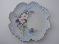 Floral Cluster Artist Signed OOAK Collectible Plate Hand Painted c 1972 Estate