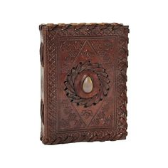 Agate Stone Inlay Small Leather Journal