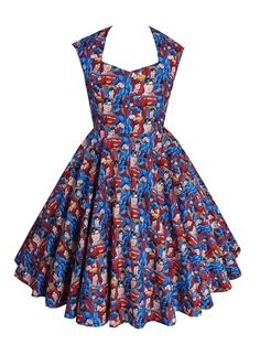 Full circle 'Betsy' in Superman collage special order fabric. 1950s vintage style comic book dress.