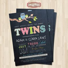 Chalkboard Twins Baby Shower Invitation OWLS DIY by AngelinaWorks, $12.90