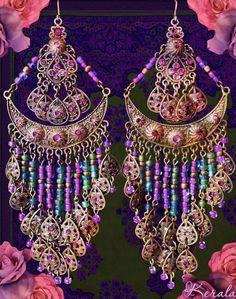Large Exotic Bohemian Gypsy Chandelier Earrings, Love these