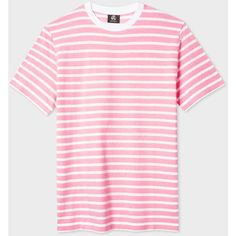 PS Paul Smith Men's Pink And White 'Zig-Zag' Stripe T-Shirt (155 ILS) ❤ liked on Polyvore featuring men's fashion, men's clothing, men's shirts, men's t-shirts, pink, mens t shirts, mens pink shirts, mens cotton t shirts, mens pink t shirt and mens cotton shirts