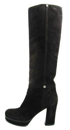 e5009068da5 PRADA Brown Suede Leather High Heel Boots size 36  US 6-6.5  PRADA   Highboots