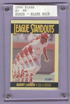 #Pinterest #eBay #Auction 1990 Fleer #1 Barry Larkin Error Rare Scarce Blank Back Baseball Card Cincinnati Reds 2012 Hall of Famer Shortstop