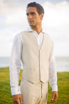 Favorite for the groomsmen! Love this look - natural linen vest and matching pants with white shirt. Custom Linen Suit Vest, islandimporter.com