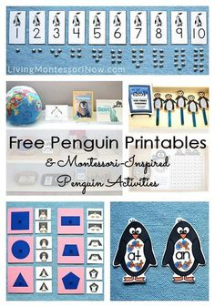 Long list of free penguin printables plus ideas for Montessori-inspired penguin activities using free printables; perfect for a winter or Antarctic theme.