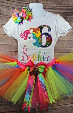 Bubblegum Divas Little Girls 3rd Birthday Unicorn Shirt Rainbow Tutu Gift Set 4pcs