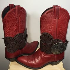 New listing  Reworked, leather cowboys  All leather reworked boots.  These gorgeous, pre loved cowboys can be worn with or without the covers, two pairs of boots in one!! Shoes Heeled Boots