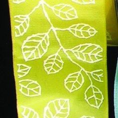 """Yellow Taffeta with White Leaf Print Wired Craft Ribbon 1.5"""" x 54 Yards *** Check out the image by visiting the link."""