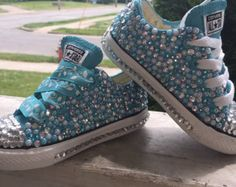 "size 7 in kids ""frozen inspired converse "" Bedazzled Converse, Converse Shoes, Bling Shoes, Glitter Shoes, Creative Shoes, Decorated Shoes, Baby Sneakers, Baby Girl Shoes, Toddler Shoes"