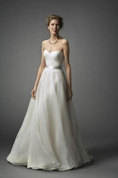 Sweetheart A-Line Wedding Dress with Natural Waist in Organza. Bridal Gown Style Number:33053828