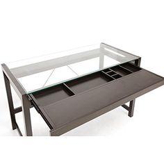 Amazon.com: Baxton Studio Idabel Dark Brown Wood Modern Desk with Glass Top: Kitchen & Dining