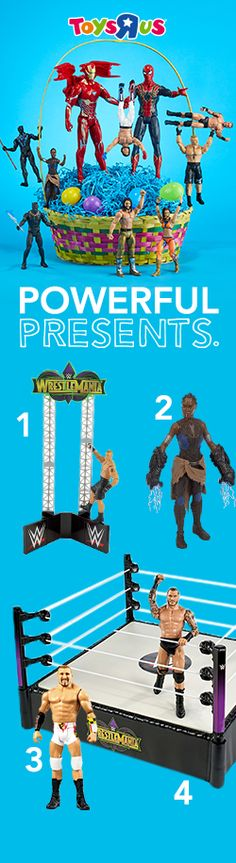 "With great toys comes great gift-ability! Whether their faves fly over tall buildings or off of turnbuckles, you can make their Easter SUPER. (1.) WWE Road to WrestleMania Build Up Playset (2.) Marvel Black Panther 6"" Action Figure - Shuri (3.) WWE WrestleMania 6"" Action Figure - Mojo Rawley (4.) WWE WrestleMania 14 inch Ring Playset with Action Figure - Randy Orton"