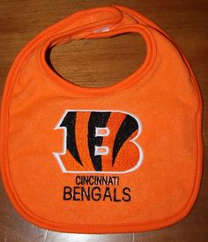 Cincinatti Bengals embroidered bib by KenaKreations on Etsy, $8.00