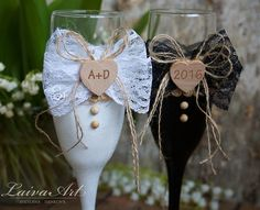 Rustic Wedding Champagne Flutes Black & White  Wedding Champagne Glasses Wedding Toasting Flutes Bride and Groom by LaivaArt on Etsy