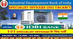 101 IDBI Specialist Officer Jobs, IDBI Bank Recruitment 2017