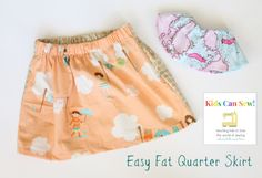 Simple Fat Quarter Skirt Tutorial: Kids Can Sew