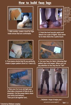 How to build faun legs. by Tamyes-ellebasi goat humanoid anthro female high heels cosplay costume LARP LRP resource tool how to tutorial instructions | Create your own roleplaying game material w/ RPG Bard: www.rpgbard.com | Writing inspiration for Dungeons and Dragons DND D&D Pathfinder PFRPG Warhammer 40k Star Wars Shadowrun Call of Cthulhu Lord of the Rings LoTR + d20 fantasy science fiction scifi horror design | Not Trusty Sword art: click artwork for source