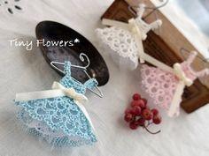 Tatting of spruced up dress | Tiny Flowers * Nyankoto handwork ~ cat and Tatting -