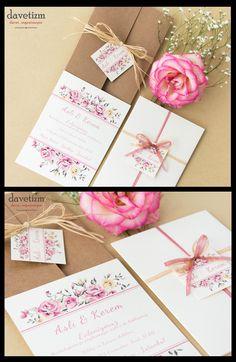 Pastel tonlarda güller ile renklendirilen bu davetiye nostaljik düğün konseptleri için mükemmel bir seçim... #davetizm #davetiye #wedding #invitation