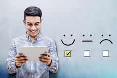 Customer Experience Concept, Happy Businessman holding digital Tablet with a checked box on Excellent Smiley Face Rating for a Satisfaction Survey Stock Photo , User Experience Design, Customer Experience, Customer Journey Mapping, Customer Feedback, Customer Service, Reputation Management, Brand Management, Management Tips, Online Shops