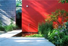 wall colors, color wall, water features, garden ponds, gardens, bold colors, accent walls, modern landscaping, red walls